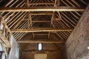 Interior of barn at Leez Priory Farm