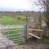 Stile and footpath into orchards near Sissinghurst