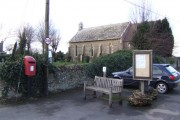 Littleworth church, post box, bench and notice board.