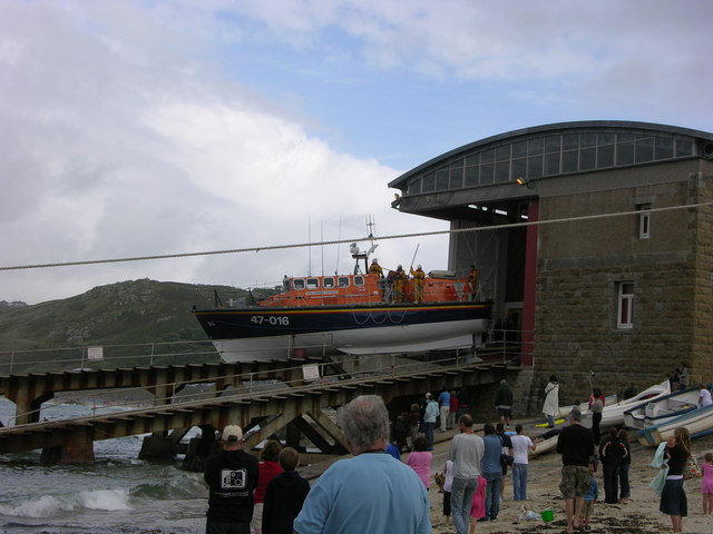 """The """"Norman Salvesen"""" Lifeboat at Sennen Cove out for an exercise, August 2004"""