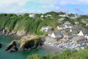 Panoramic view of Cadgwith looking towards Lizard Point