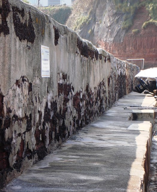 Cement render takes on a strange appearance, Paignton Harbour