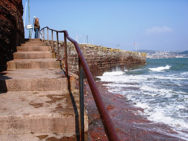 Steps up from Cove near Black Rock, Paignton harbour