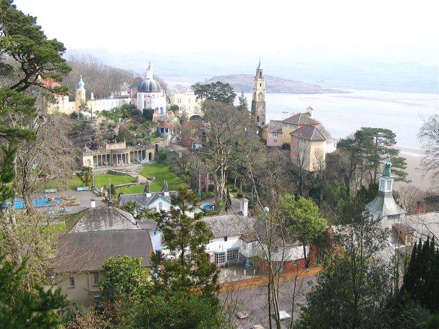 Portmeirion from the hillside
