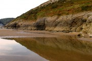 Cliff and Reflection: Caswell Bay