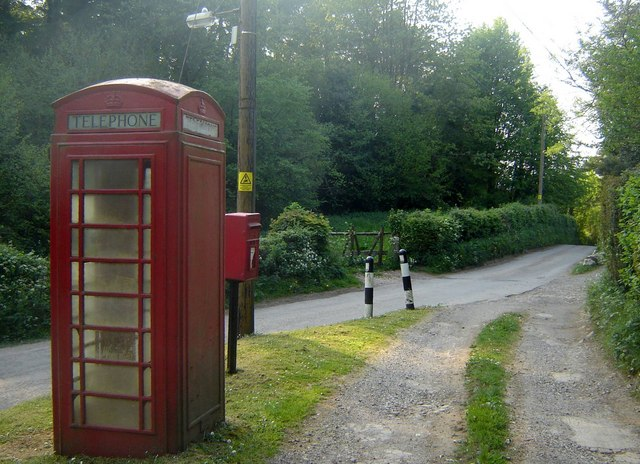 Telephone box, letter box and track junction