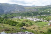 Bethesda's suburbs of Henbarc and Cilfodan from Tyn-y-ffridd Quarry