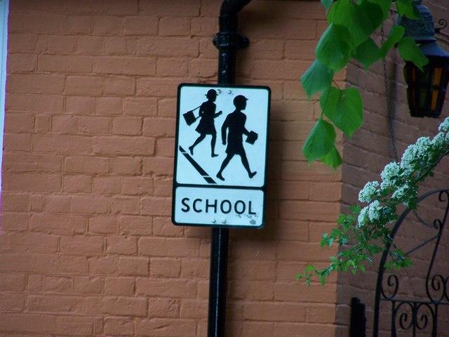 Historic school sign, Darsham, Suffolk