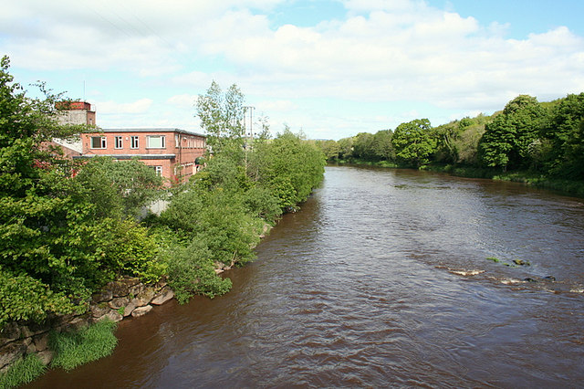Looking downstream on the River Mourne at Victoria Bridge.