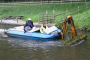 Weed cutting below Tonna Lock on the Neath Canal