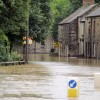 A635 road flooded at Darfield Bridge