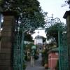 Portmeirion village view through the gates