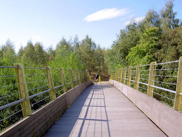 Footbridge on the Trans Pennine Trail over the River Dearne.