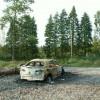 Burnt-out wreck, Cistern Wood car park