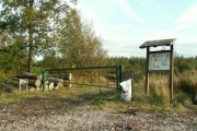Information board and gate, Cistern Wood