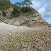 Pebble beach at low tide