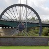 Mining wheel at the entrance to the Dearne Valley leisure centre.