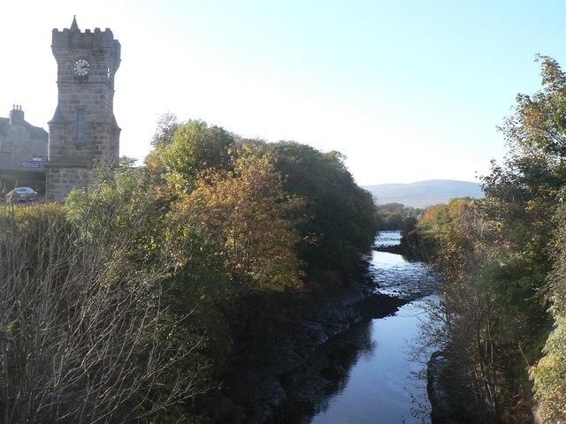 Brora: River Brora and clock tower
