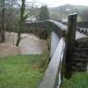 Surging water under Brayford bridge
