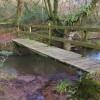 Footbridge across a stream near Foxdown Manor