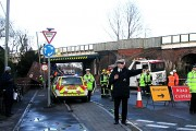 Accident involving a high lorry and a low bridge