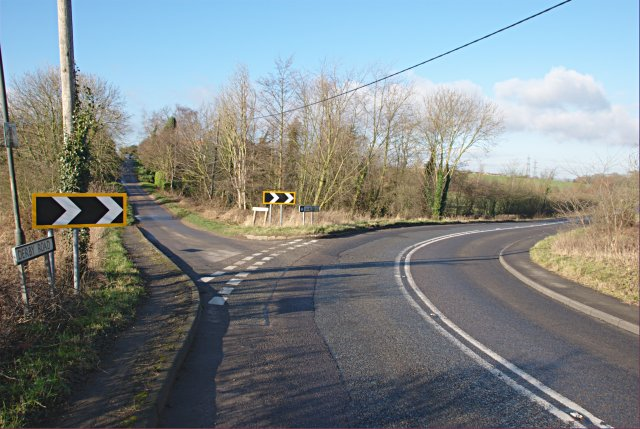 Junction of Wood End Lane and the B587 to Derby