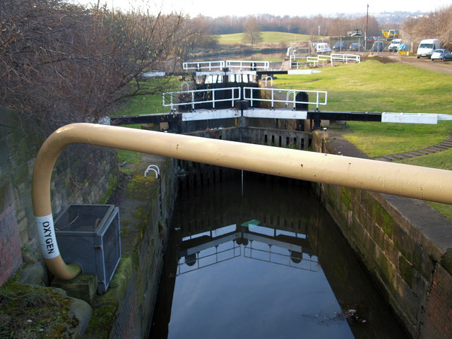 Oxygen pipeline crossing the Sheffield and South Yorkshire Navigation at Ickles lock