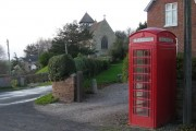 Telephone box & church at Sheinton