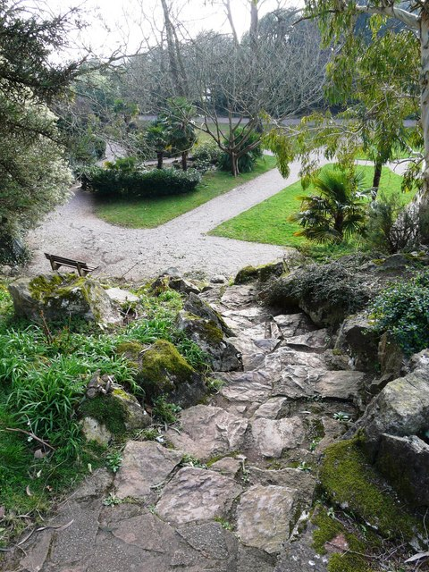 Steps, rockery, Oldway mansion, Paignton