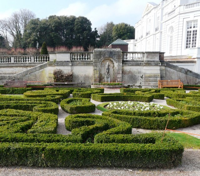 Parterre, flowers, box and statue, Oldway Mansion, Paignton