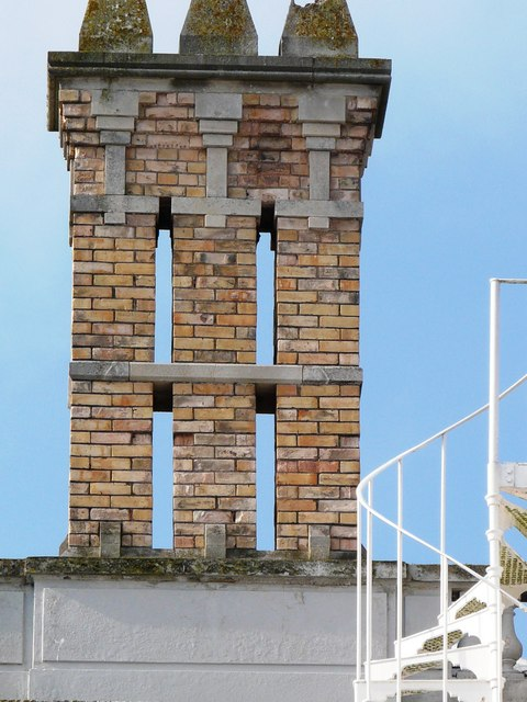 Brick chimney stack, Oldway Mansion, Paignton