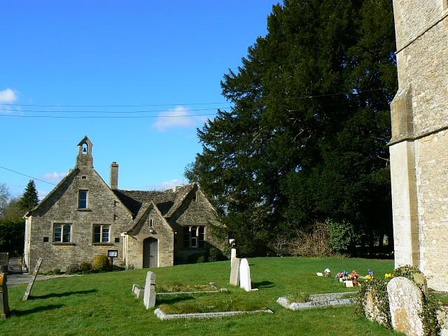 Old school house and St John the Baptist churchyard, Latton