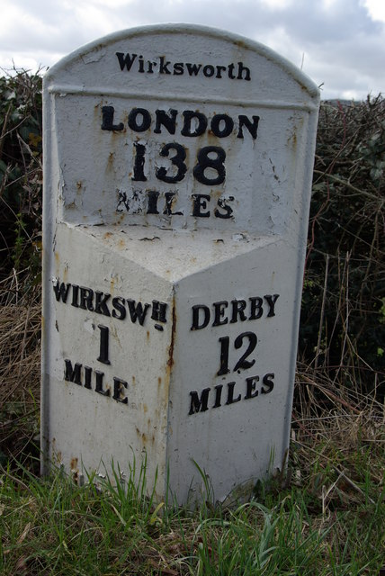 Milepost on Wirksworth to Derby road