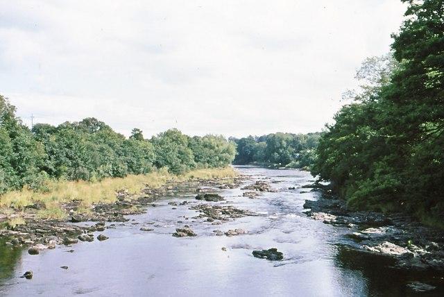 "Looking downstream from the ""Swingin' Bridge"""