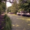 Houseboats and duckweed on the Basingstoke Canal