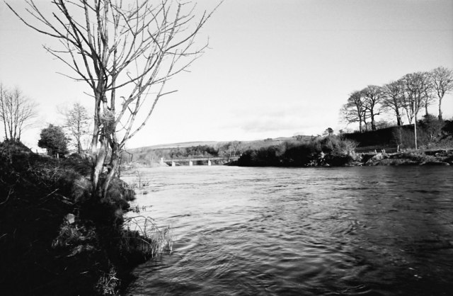 Downstream view of the  River Mourne towards Calms Bridge