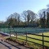 Aston Ingham tennis club in April with sand bags