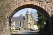 Baptist Church through the old railway bridge