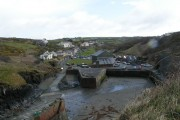 Porthgain village and harbour at low tide