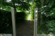 The Barnsley Boundary Walk sign on the stile
