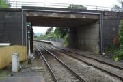 Llansamlet railway station: looking through the overbridge towards the eastbound platform
