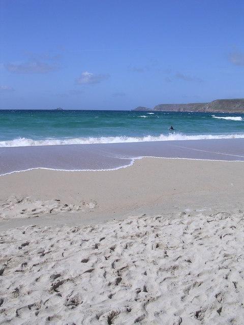 Sand and surf on Sennen beach