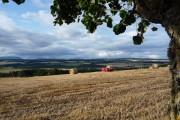 Harvesting in the fields below Drumderfit Farm
