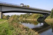 River Severn,  Shrewsbury A49 bypass road bridge, upstream bridge of two bridges on bypass
