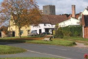 Haughley village scene, backed by the church