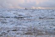 Snowy hillside, North-a-voe
