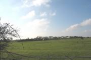 View across farmland towards Tyddyn Meredydd