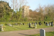 View from Catherington Cemetery over to All Saints church