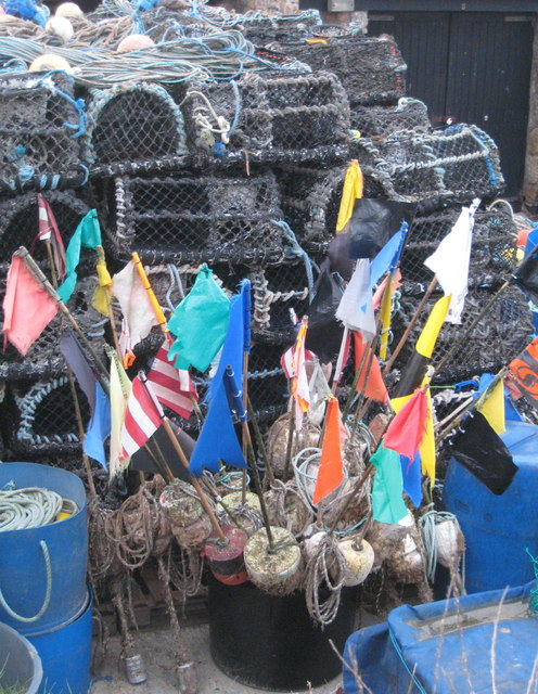 Lobster pots and floats in Sennen Cove harbour