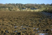 Ploughed field at the foot of Bowden Hill